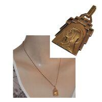 Pendentif ancien art déco en plaqué or 18 carats Oria Vierge Marie Lourdes bijou