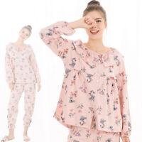 Nursing Breastfeeding Sleepwear Homewear Pajama Set Floral Cotton Maternity M/L