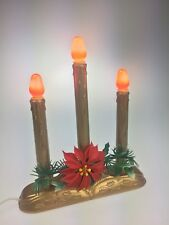 Vintage Gold 3-Light Candolier Christmas Indoor Candle Lamp Red Bulbs