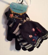 Disney Descendants Mal Evie 2 Pack Gloves Solid Black Striped Fingerless Cover