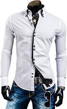 Stylish Mens Slim Fit Casual Double Collar Shirt Long Sleeve M L XL XXL DC12