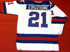 MIKE ERUZIONE CUSTOM 1980 TEAM USA HOCKEY JERSEY MIRACLE ON ICE DAMAGED READ