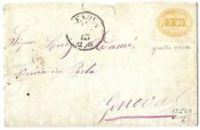 REGNO VE II 1863 SEGNATASSE 10 C. GIALLO OCRA SU BUSTA GENOVA