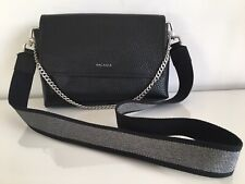 Brand New Arcadia Black And Silver Leather Crossbody Bag Clutch Chain Details