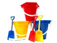 3 Small Sand Buckets, Shovels and I Dig You Stickers Made Usa Red Blue Yellow*