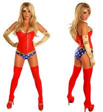 Supergirl Superhero Costume Adult Fancy Dress Basques Corset+Panty+Gloves Set