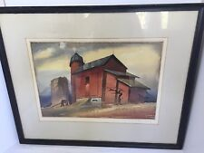 Original Reynold Weidenaar Signed Water Color Painting Coming Of Winter Vintage