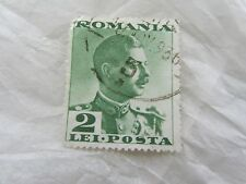 Vintage Used Romania King Carol II 1930s Green 2 Lei Posta Stamp