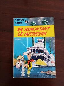 LUCKY LUKE : EN REMONTANT LE MISSISSIPI / N°16 / DOS JAUNE 1964 ++++