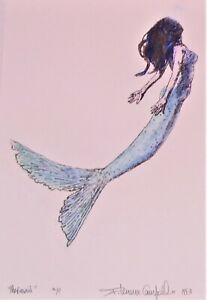 Gorgeous MERMAID hand colored limited signed 1993 edition proof by listed artist