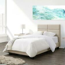 CorLiving Cream Fabric Single Wide-Rectangle Panel Bed and Frame