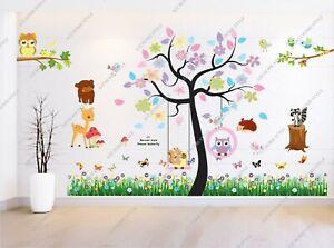 Jungle Animals Owls Swing Flower Fence Wall Stickers Kids Nursery Playroom Decal