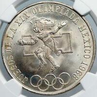 1968 Mexico XIX Olympic Games AZTEC Ball Player 25 Pesos Silver Coin NGC i88913