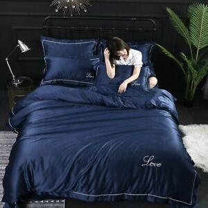 Silk Bedding Set Bed Linen Duvet Cover With Sheet Pillowcase Knitted Love Linens