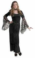 Teens Girls Gothic Temptress Halloween Witch Vampire Fancy Dress Party Costume Age 10 - 12