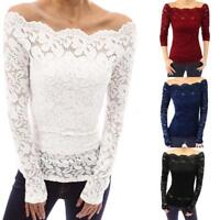 Women's Off Shoulder Floral Lace Hollow Out Tops Slim Long Sleeve Blouse T-Shirt