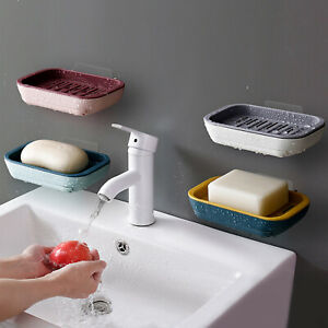 1x Dish Tray Sponge Holder Stand Shower Strong Stick Suction Soap Easy Clean
