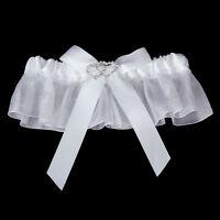 Bridal Double Heart Rhinestone Wedding Garter Satin Toss -White B4P5