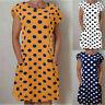 Daliy Womens Dotted Ruffled Pockets Dress O-Neck Shift Buttoned-decor Dresses