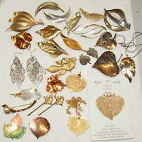 Vintage Brooch LOT Earrings Bobby Pin Leaves 18k Gold Dipped 27 Piece