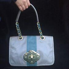 CYNTHIAROWLEY grey   teal genuine leather handbag. acd097f271