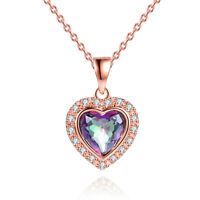 Sevil 18K Rose Gold Plated Created Mystic Topaz & CZ Heart Necklace