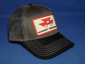 Massey Ferguson Hat - Black/White/Charcoal Twill & Mesh - Red Logo