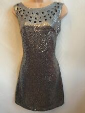 BNWT Silver Sequin Jewelled Short Party Dress Lipsy FAULT- Needs Repair* Size 10