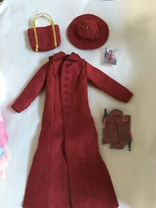 "GENE 16"" Vinyl Doll clothes outfit Long RED COAT, HAT, PURSE & BOOTS 4 pc. SET"