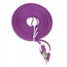 Long 3M USB Cable for iPhone 6S 5 5C 5S Data Charger Purple Noodles Wire