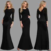 Ever-Pretty Lace Round Neck Long Evening Prom Dresses Bodycon Cocktail Ball Gown