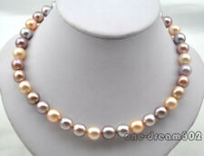 "Rare 17"" 11mm round pink purple Edison reborn keshi pearl necklace"