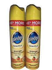 Lot Of 2 PLEDGE Orange Clean Scent Furniture Polish Spray Dusting 9.7 oz. 72373