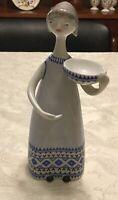 Vintage 1979-1985 Hollohaza Hungary Porcelain Lady Carrying Bowl Figurine
