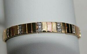 bracelet manchette ouvrant 3 or jaune et rose18 carats et diamants sur or gris