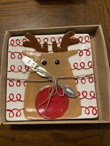 Mudpie Reindeer Cheese Set Rudolph Fa La La New in Package