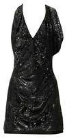 Karen Millen Black Sequin Drape Cocktail Mini Party Dress UK 12 New