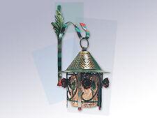 Lanterna lampada ZINCATA con catena vetro e ferro battuto con rose bellissima