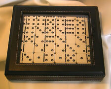 Double 6 Dominoes Studdeed With Genuine Swarovski Crystals Black Diamond Gift!
