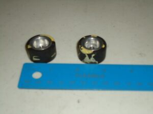 """1/24 PAIR OF VINTAGE TIRES BLACK AND YELLOW CANDIES APPROX 1"""" NO CHUNKING"""