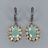 Natural Emerald Earrings Silver 925 Sterling Vintage SET15x11mm  /E39353