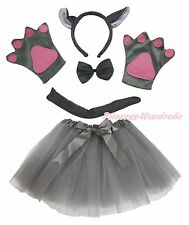 Xmas Halloween Party Kids Gray Wolf Headband Paw Tail Bow Gauze Skirt Costume
