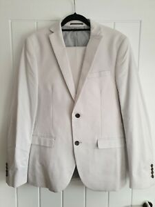 Mens Next White Suit Jacket And Trouser