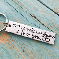 Drive Safe I Love You Engraved Key Chain Boyfriend Gift Pendant For Husband UK