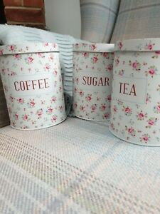 Metallic Floral Print Sugar, Tea And Coffee Canisters