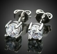 2.00 CT ROUND Crystal STUD EARRING 14K WHITE GOLD PLATED with Swarovski Crystals