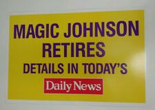 Magic Johnson Retires NBA due to HIV 1991 VINTAGE RARE MEDIA POSTER DAILY NEWS