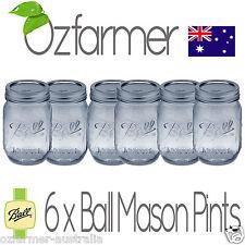 6 x Ball Mason Regular Mouth 470ml Pint Jars Lids Canning Preserving Weddings