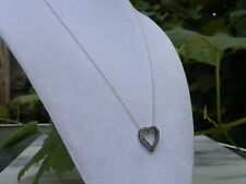 """18"""" Sterling Silver Bead Chain Necklace Vintage Sterling Silver Diamond Heart"""
