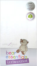IZZIWOTNOT BEAR ESSENTIALS 2 PACK TERRY COT WHITE FITTED SHEET COTTON BLEND